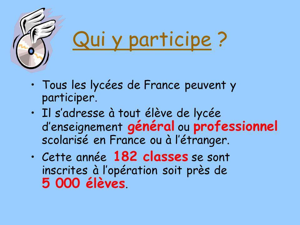 Qui y participe ? Tous les lycées de France peuvent y participer. Il sadresse à tout élève de lycée denseignement général ou professionnel scolarisé e