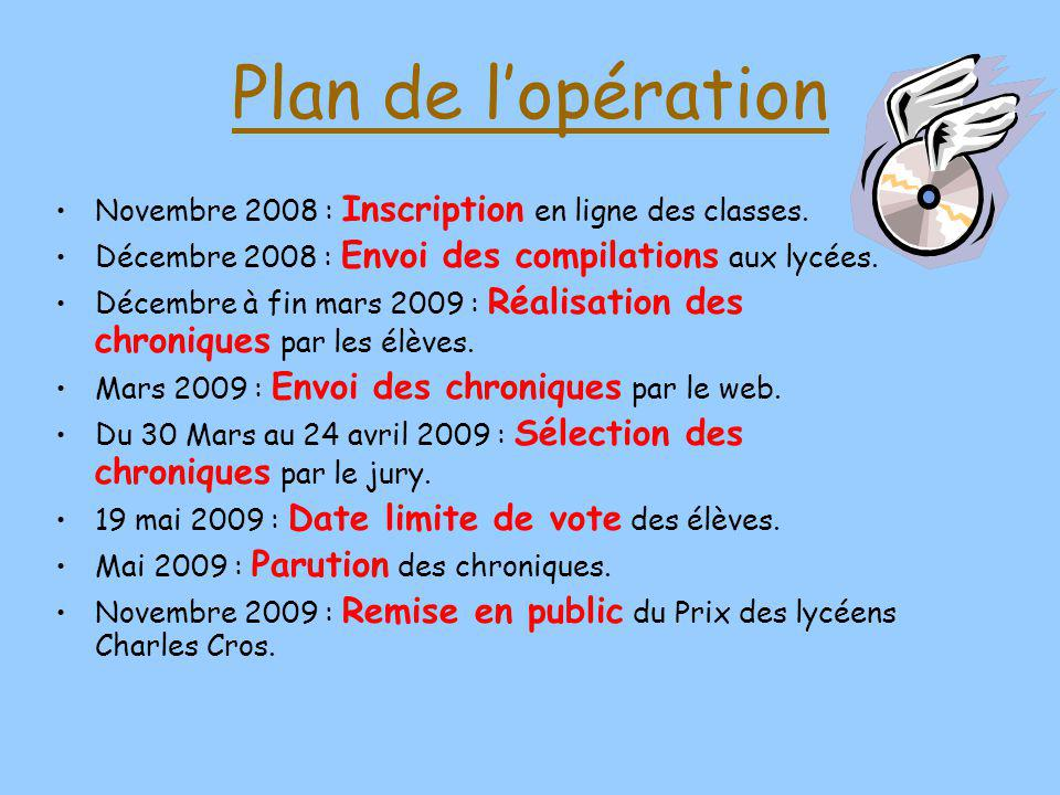 Plan de lopération Novembre 2008 : Inscription en ligne des classes.