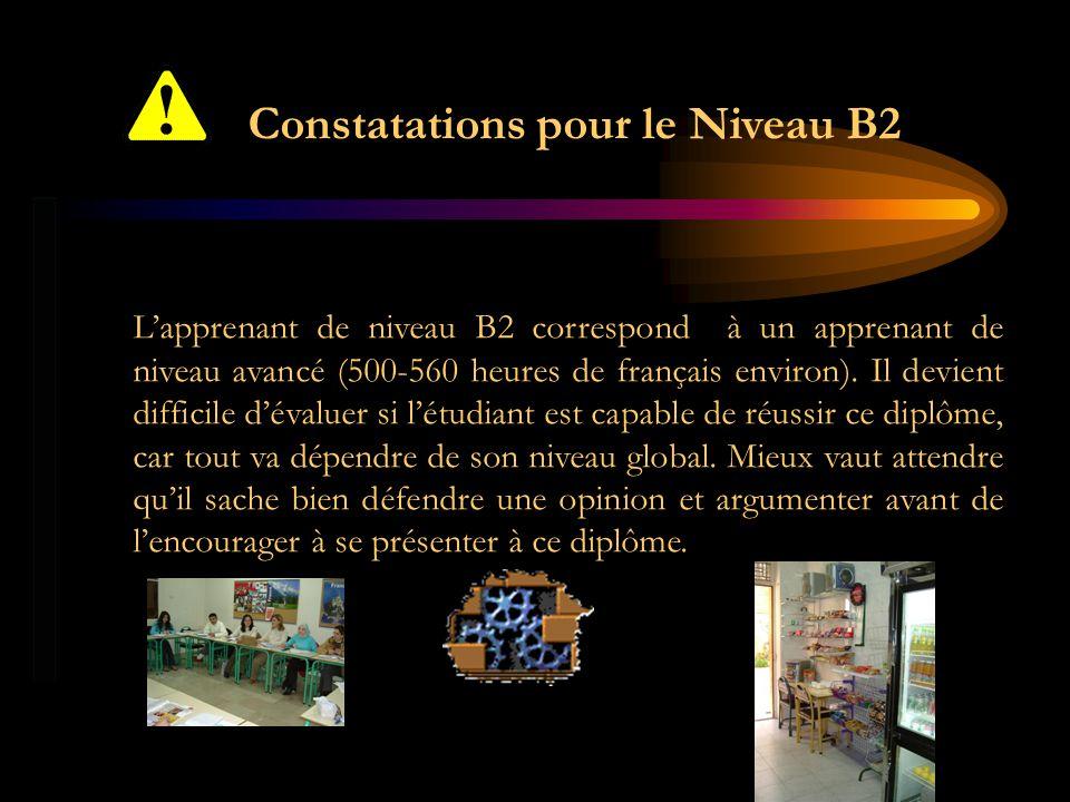 Constatations pour le Niveau B2 Lapprenant de niveau B2 correspond à un apprenant de niveau avancé (500-560 heures de français environ). Il devient di