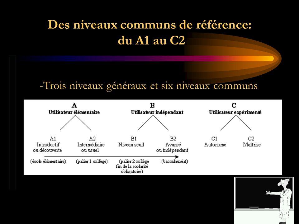 Des niveaux communs de référence: du A1 au C2 -Trois niveaux généraux et six niveaux communs