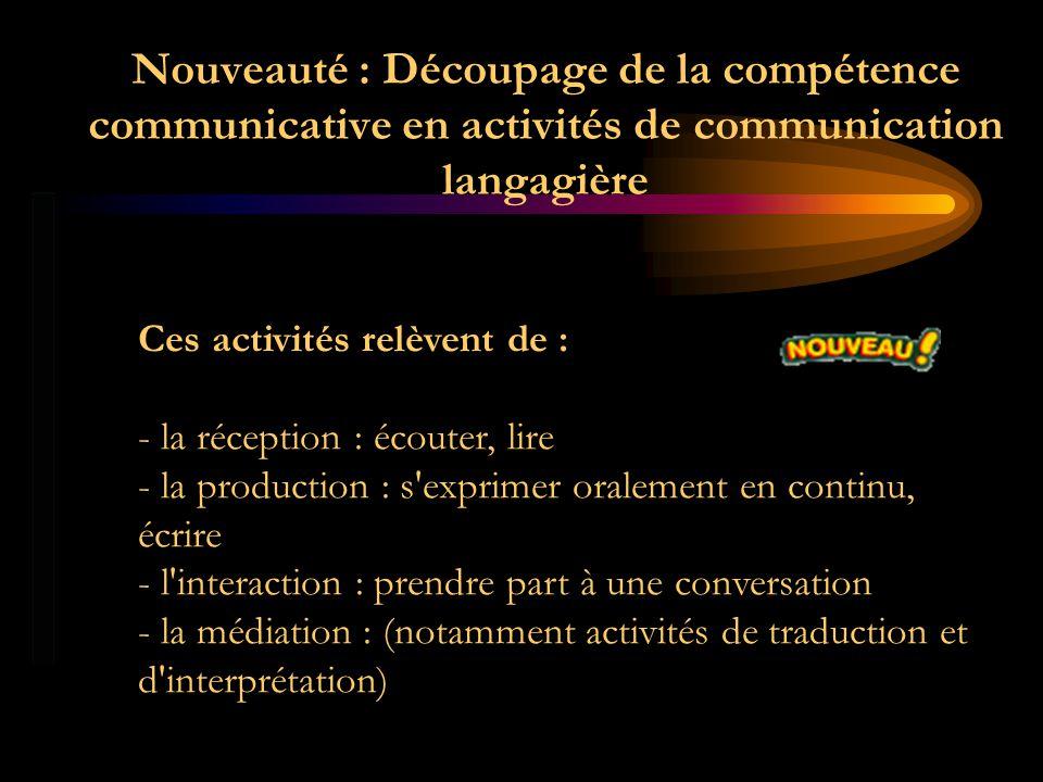 Nouveauté : Découpage de la compétence communicative en activités de communication langagière Ces activités relèvent de : - la réception : écouter, li