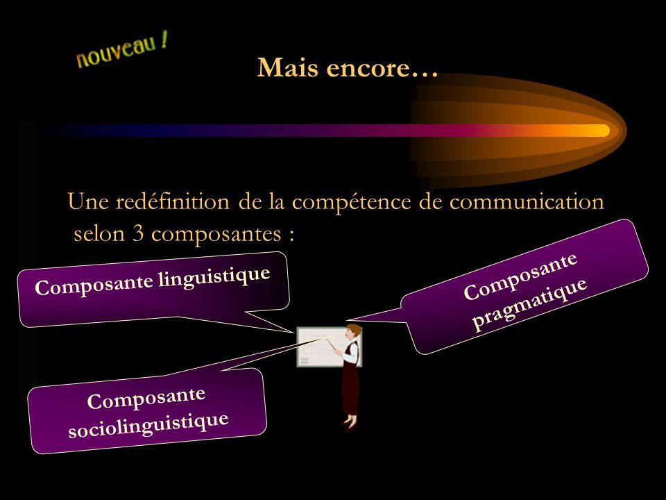Mais encore… Une redéfinition de la compétence de communication selon 3 composantes : Composante sociolinguistique Composante pragmatique Composante l