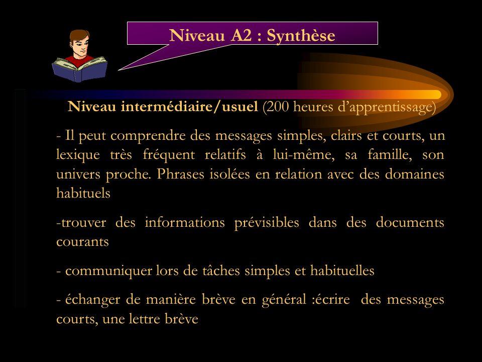 Niveau intermédiaire/usuel (200 heures dapprentissage) - Il peut comprendre des messages simples, clairs et courts, un lexique très fréquent relatifs
