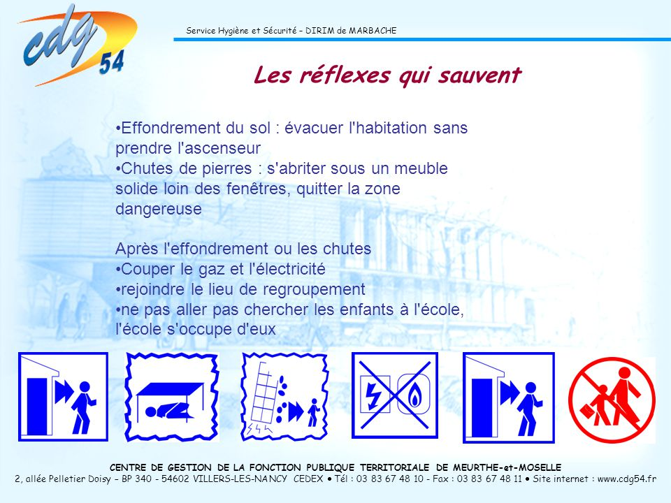Cliquez pour modifier le style du titre du masque Cliquez pour modifier les styles du texte du masque Deuxième niveau Troisième niveau Quatrième niveau Cinquième niveau 59 CENTRE DE GESTION DE LA FONCTION PUBLIQUE TERRITORIALE DE MEURTHE-et-MOSELLE 2, allée Pelletier Doisy – BP 340 - 54602 VILLERS-LES-NANCY CEDEX Tél : 03 83 67 48 10 - Fax : 03 83 67 48 11 Site internet : www.cdg54.fr Service Hygiène et Sécurité – DIRIM de MARBACHE Les réflexes qui sauvent Effondrement du sol : évacuer l habitation sans prendre l ascenseur Chutes de pierres : s abriter sous un meuble solide loin des fenêtres, quitter la zone dangereuse Après l effondrement ou les chutes Couper le gaz et l électricité rejoindre le lieu de regroupement ne pas aller pas chercher les enfants à l école, l école s occupe d eux