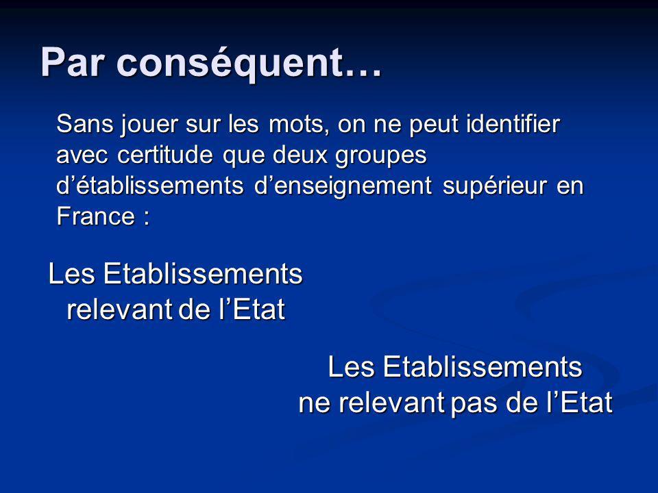Par conséquent… Sans jouer sur les mots, on ne peut identifier avec certitude que deux groupes détablissements denseignement supérieur en France : Les Etablissements relevant de lEtat Les Etablissements ne relevant pas de lEtat