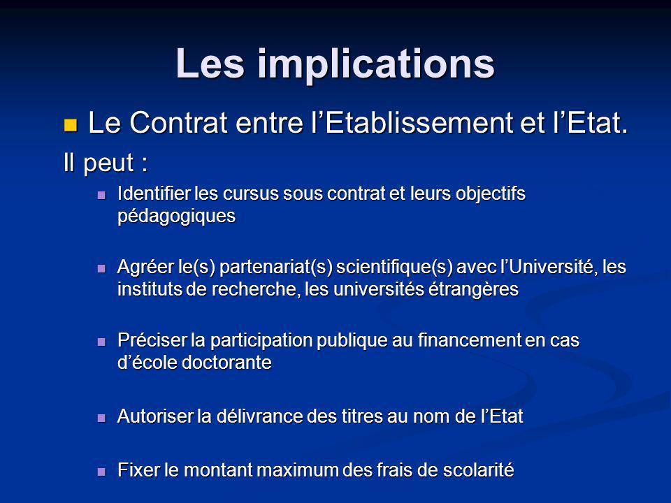 Les implications Le Contrat entre lEtablissement et lEtat.