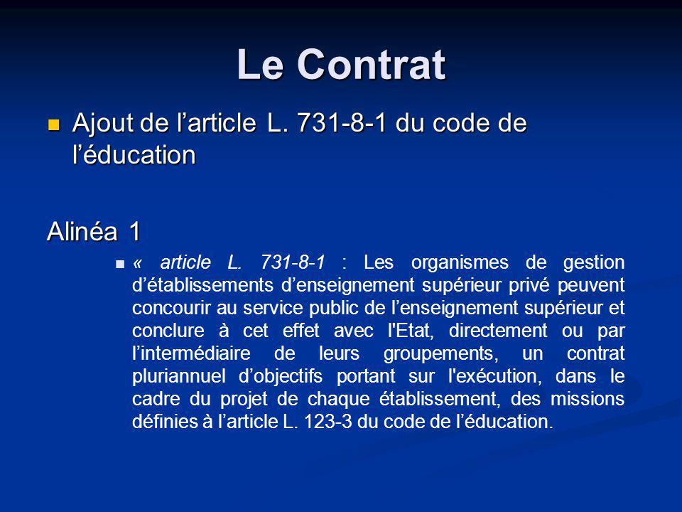 Le Contrat Ajout de larticle L. 731-8-1 du code de léducation Alinéa 1 « article L.