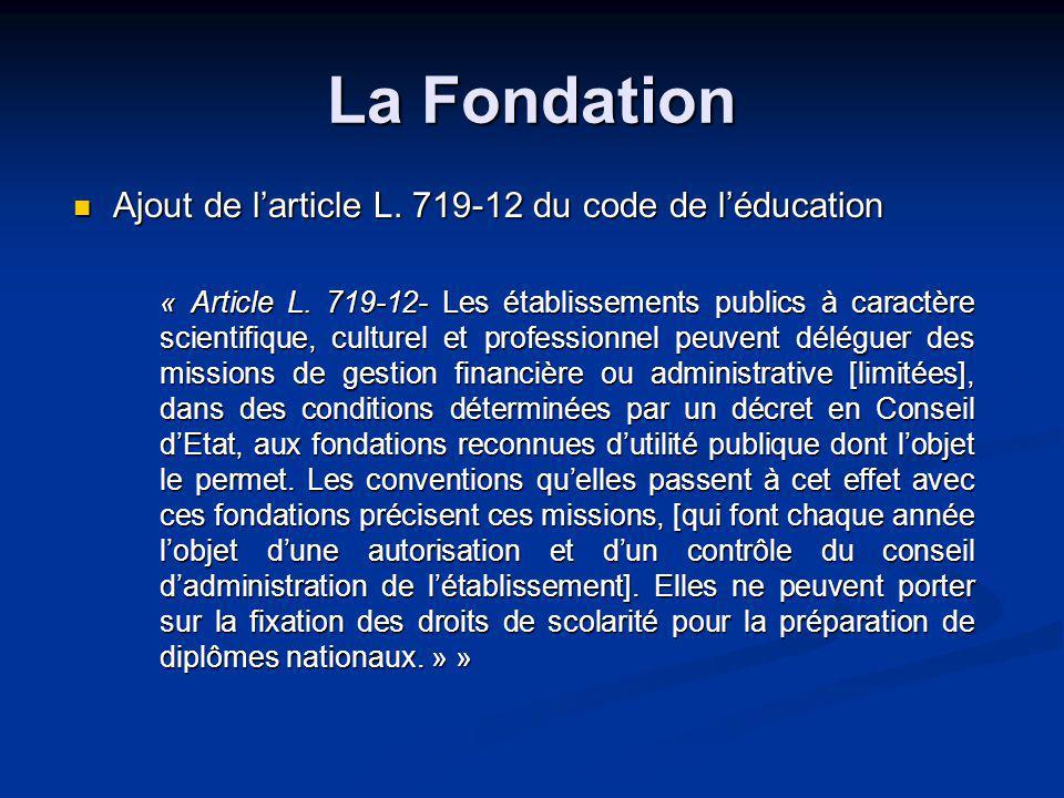 La Fondation Ajout de larticle L. 719-12 du code de léducation « Article L.