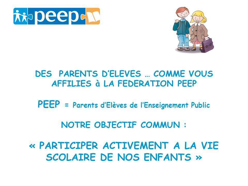DES PARENTS DELEVES … COMME VOUS AFFILIES à LA FEDERATION PEEP PEEP = Parents dElèves de lEnseignement Public NOTRE OBJECTIF COMMUN : « PARTICIPER ACT