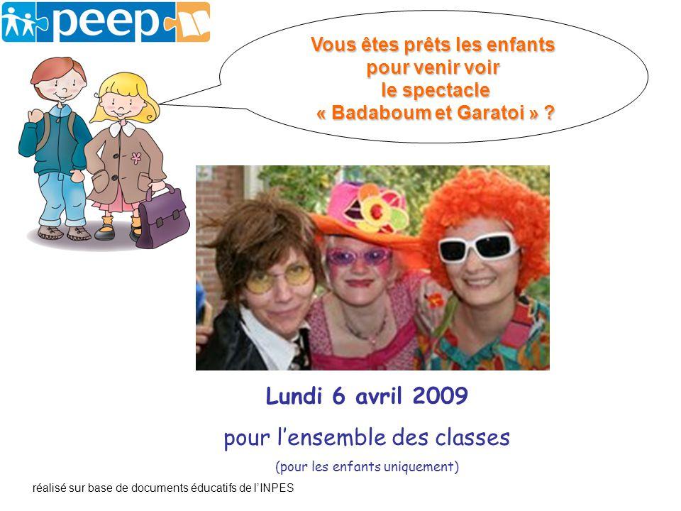Lundi 6 avril 2009 pour lensemble des classes (pour les enfants uniquement) réalisé sur base de documents éducatifs de lINPES Vous êtes prêts les enfa