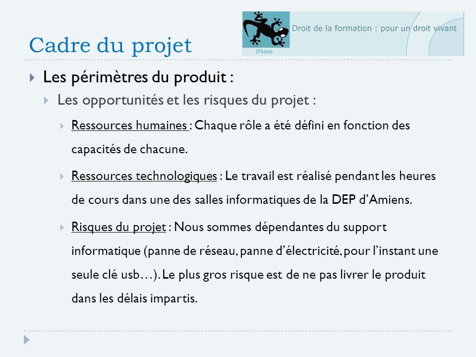 Cadre du projet Les périmètres du produit : Les opportunités et les risques du projet : Ressources humaines : Chaque rôle a été défini en fonction des capacités de chacune.