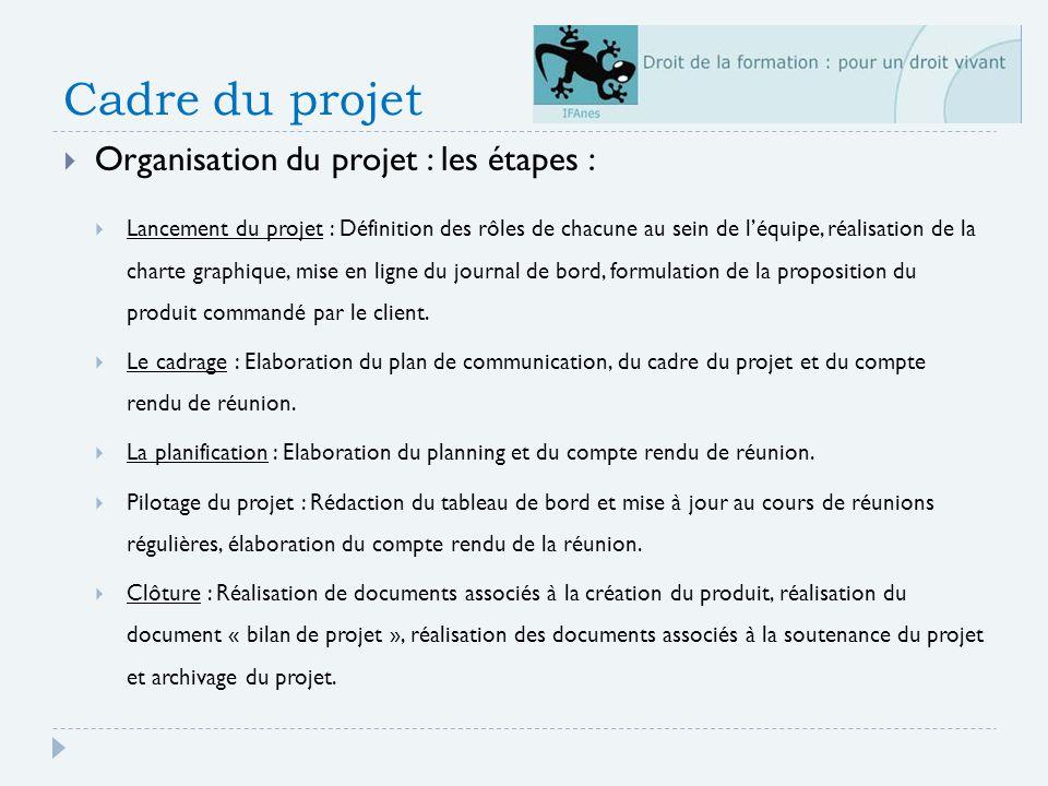 Cadre du projet Organisation du projet : les étapes : Lancement du projet : Définition des rôles de chacune au sein de léquipe, réalisation de la charte graphique, mise en ligne du journal de bord, formulation de la proposition du produit commandé par le client.