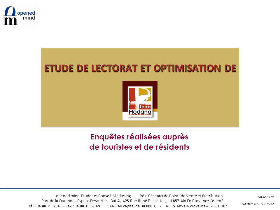 © opened mind Terra Modana 1 1 opened mind Etudes et Conseil Marketing - Pôle Réseaux de Points de Vente et Distribution Parc de la Duranne, Espace De