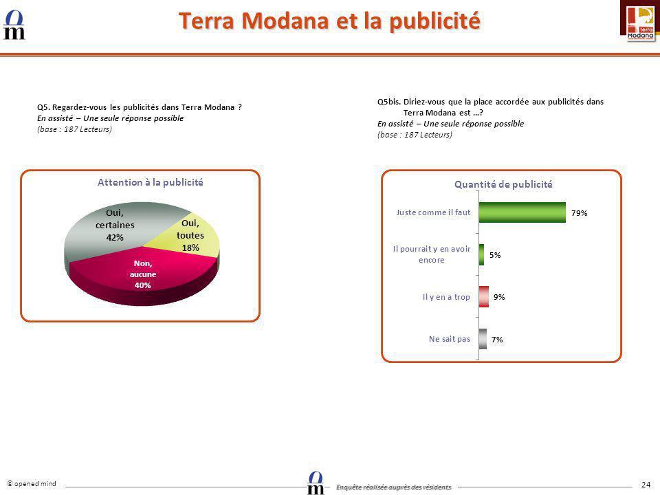 © opened mind Enquête réalisée auprès des résidents 24 Terra Modana et la publicité Q5. Regardez-vous les publicités dans Terra Modana ? En assisté –