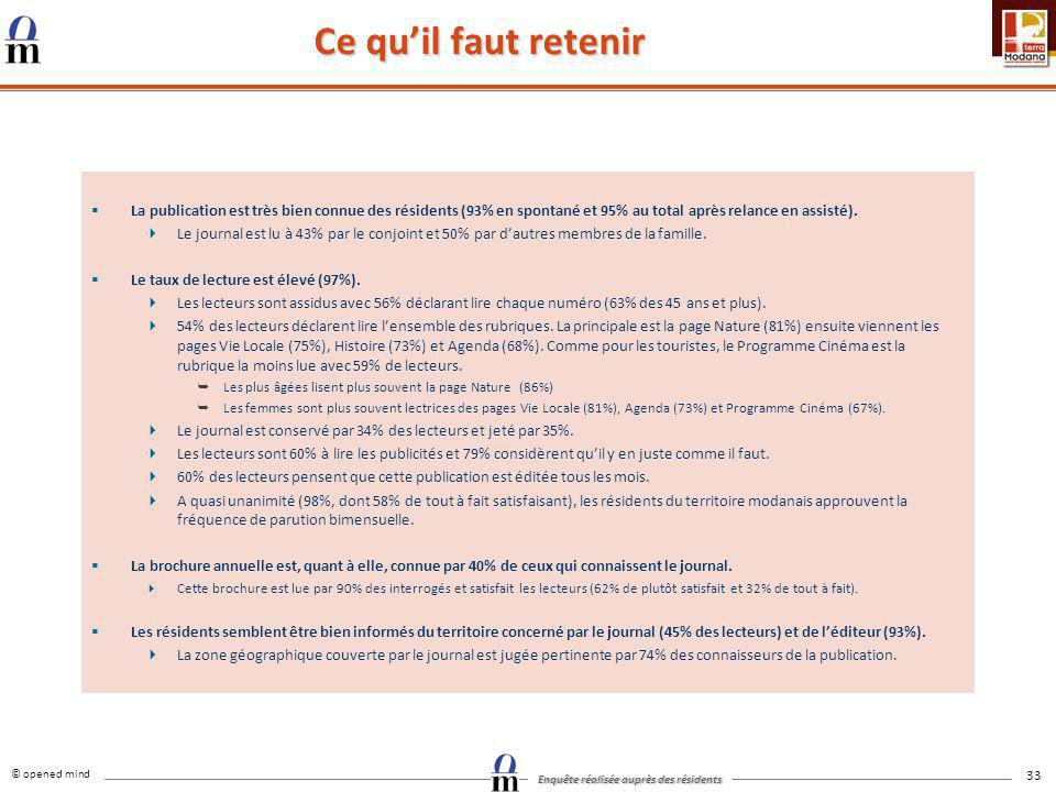 © opened mind Enquête réalisée auprès des résidents 33 Ce quil faut retenir La publication est très bien connue des résidents (93% en spontané et 95%