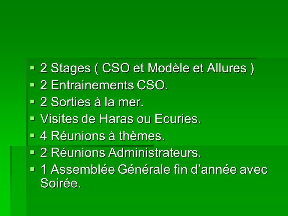 2 Stages ( CSO et Modèle et Allures ) 2 Stages ( CSO et Modèle et Allures ) 2 Entrainements CSO. 2 Entrainements CSO. 2 Sorties à la mer. 2 Sorties à
