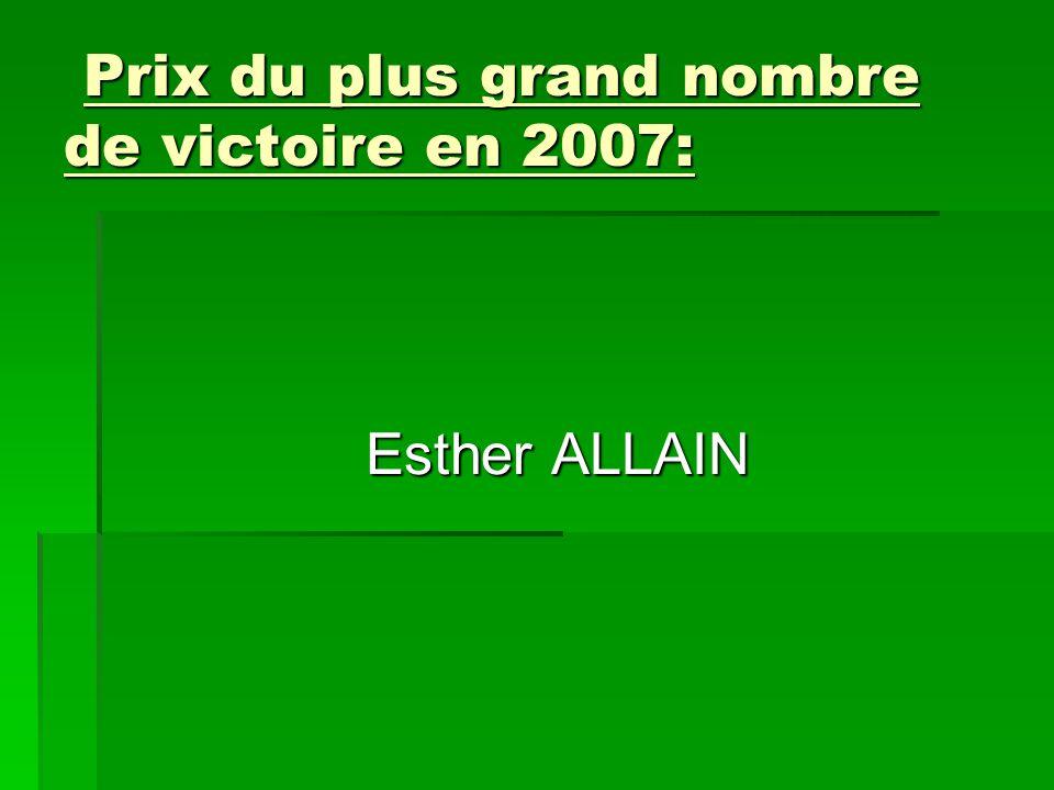 Prix du plus grand nombre de victoire en 2007: Esther ALLAIN