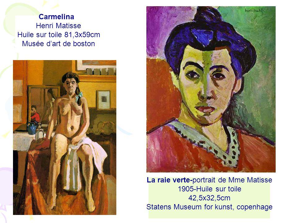 Carmelina Henri Matisse Huile sur toile 81,3x59cm Musée dart de boston La raie verte-portrait de Mme Matisse 1905-Huile sur toile 42,5x32,5cm Statens Museum for kunst, copenhage