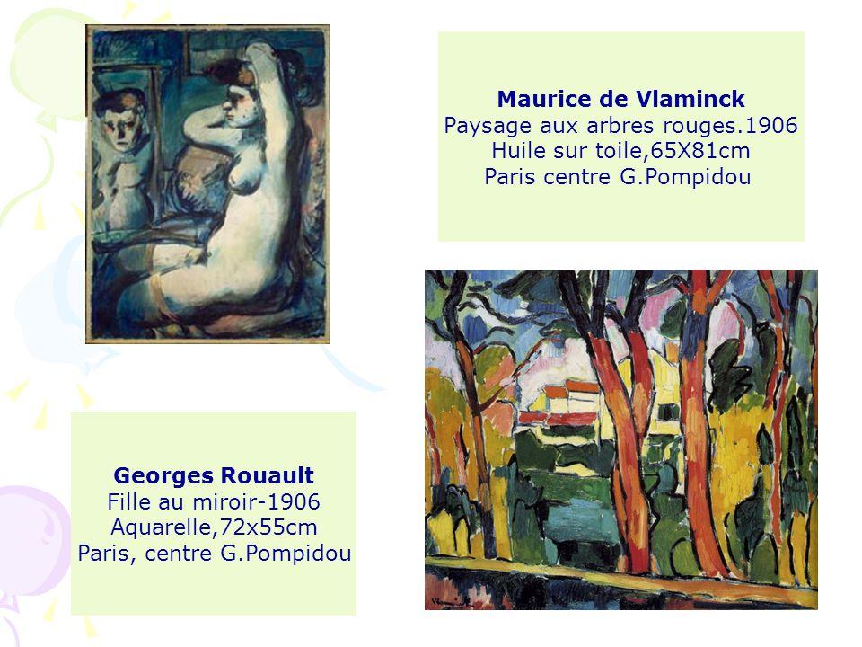 Georges Rouault Fille au miroir-1906 Aquarelle,72x55cm Paris, centre G.Pompidou Maurice de Vlaminck Paysage aux arbres rouges.1906 Huile sur toile,65X81cm Paris centre G.Pompidou