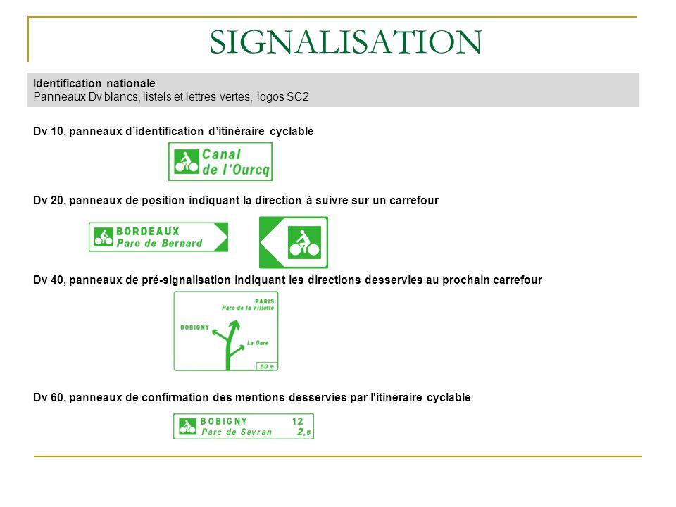 Identification nationale Panneaux Dv blancs, listels et lettres vertes, logos SC2 SIGNALISATION Dv 10, panneaux didentification ditinéraire cyclable D