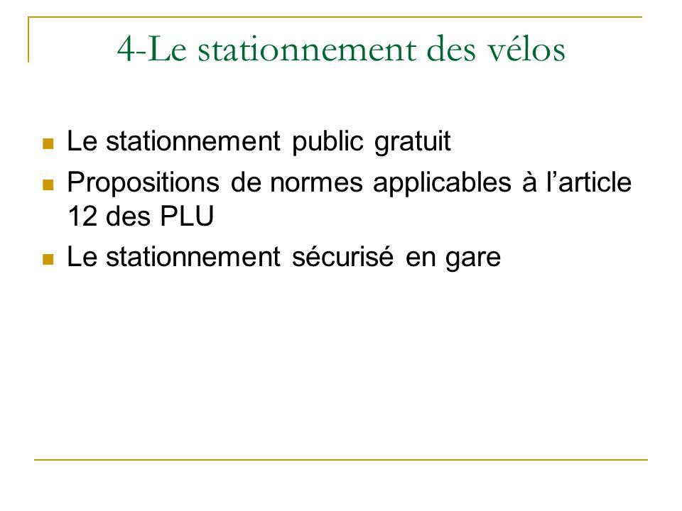 4-Le stationnement des vélos Le stationnement public gratuit Propositions de normes applicables à larticle 12 des PLU Le stationnement sécurisé en gare