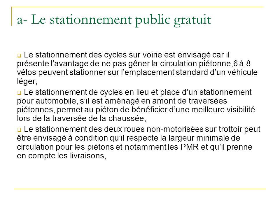 a- Le stationnement public gratuit Le stationnement des cycles sur voirie est envisagé car il présente lavantage de ne pas gêner la circulation piéton