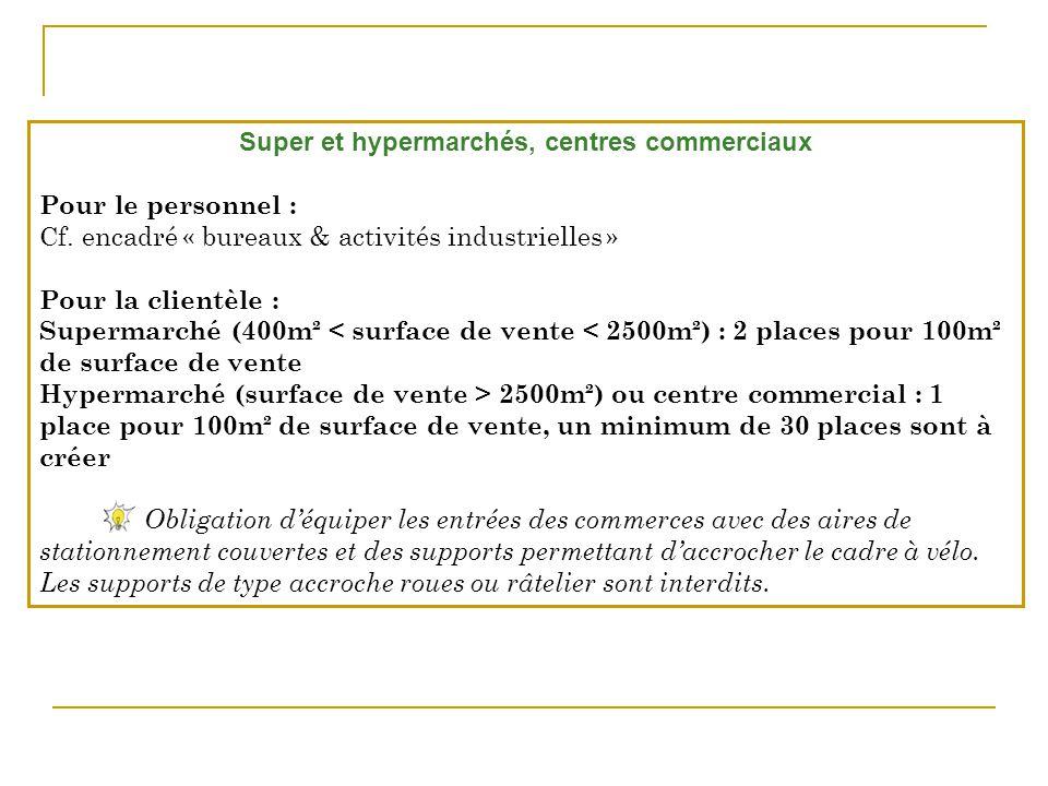 Super et hypermarchés, centres commerciaux Pour le personnel : Cf. encadré « bureaux & activités industrielles » Pour la clientèle : Supermarché (400m