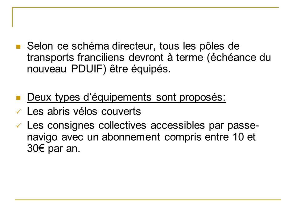 Selon ce schéma directeur, tous les pôles de transports franciliens devront à terme (échéance du nouveau PDUIF) être équipés. Deux types déquipements