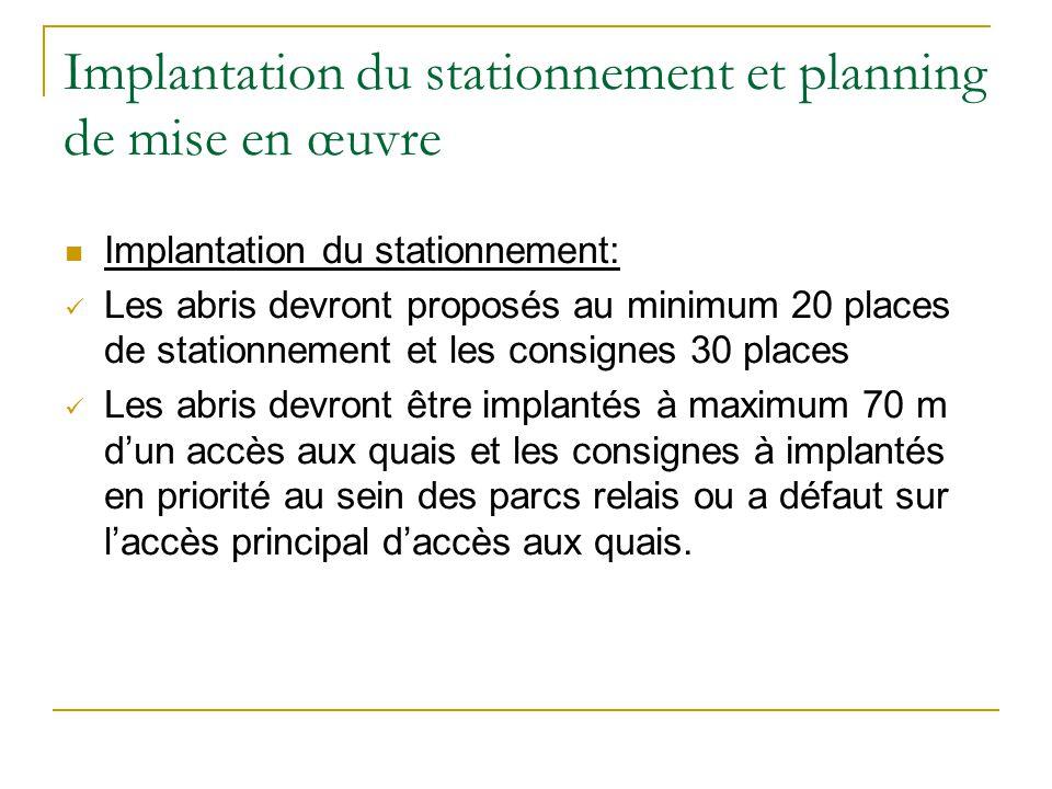 Implantation du stationnement et planning de mise en œuvre Implantation du stationnement: Les abris devront proposés au minimum 20 places de stationne