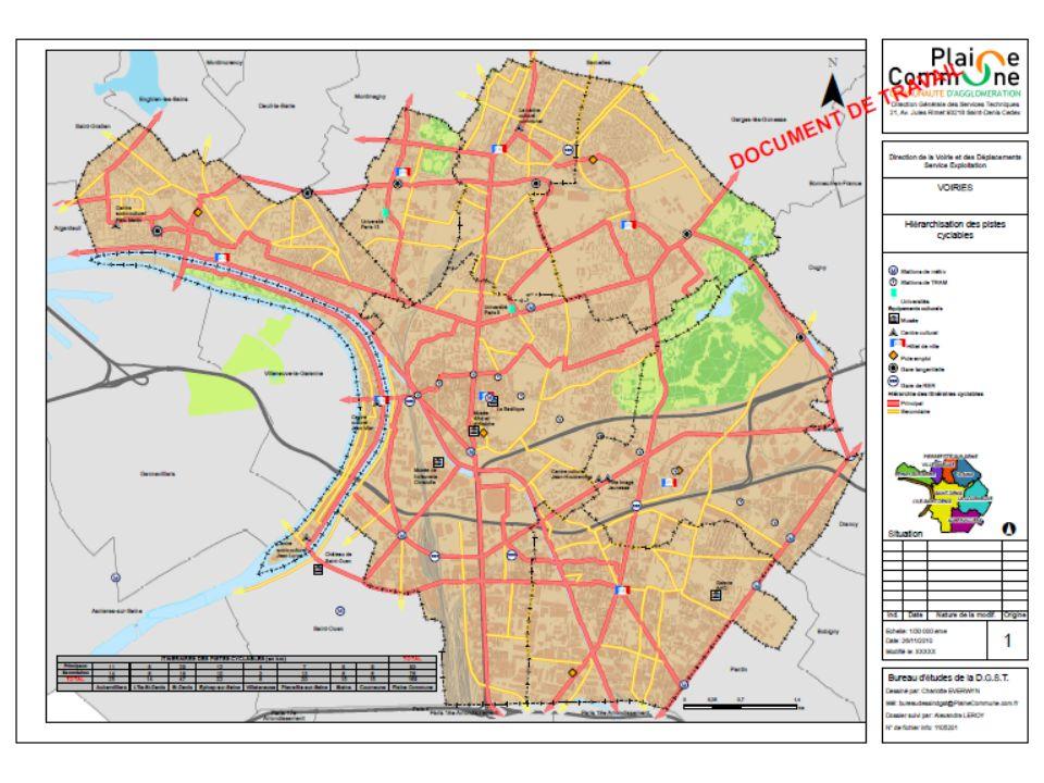Au total le plan vélo représente 169 km daménagements cyclables, soit: Pour le réseau principal : 93 km Pour le réseau secondaire : 76 km Concernant le réseau principal, les différents projets daménagements, à horizon 2014/2015, représentent environ 50% des aménagements prévus au plan vélo.