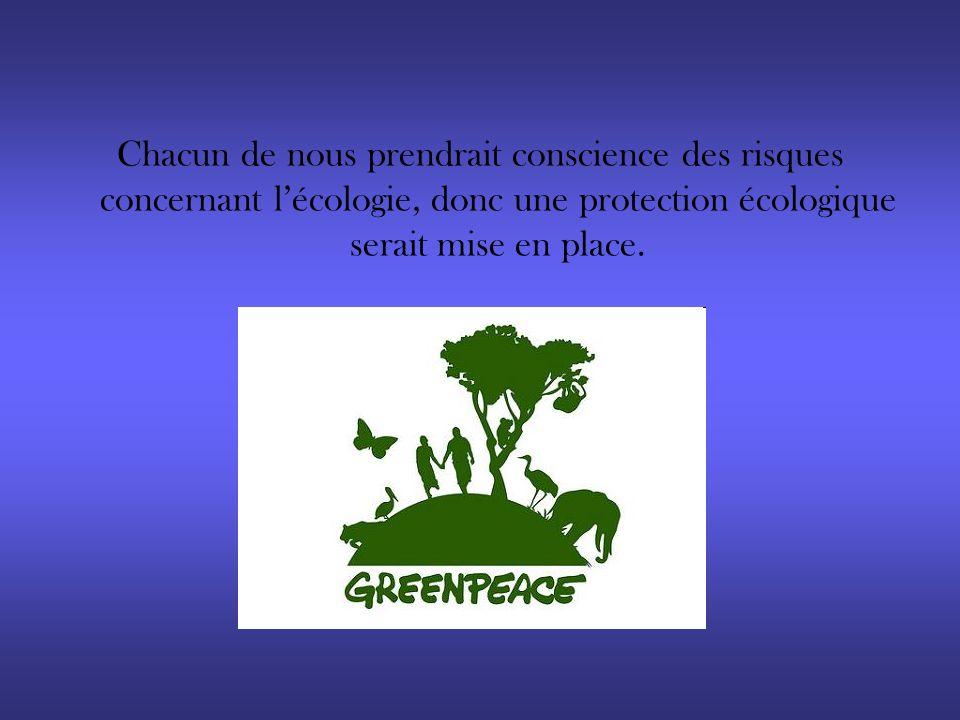 Chacun de nous prendrait conscience des risques concernant lécologie, donc une protection écologique serait mise en place.