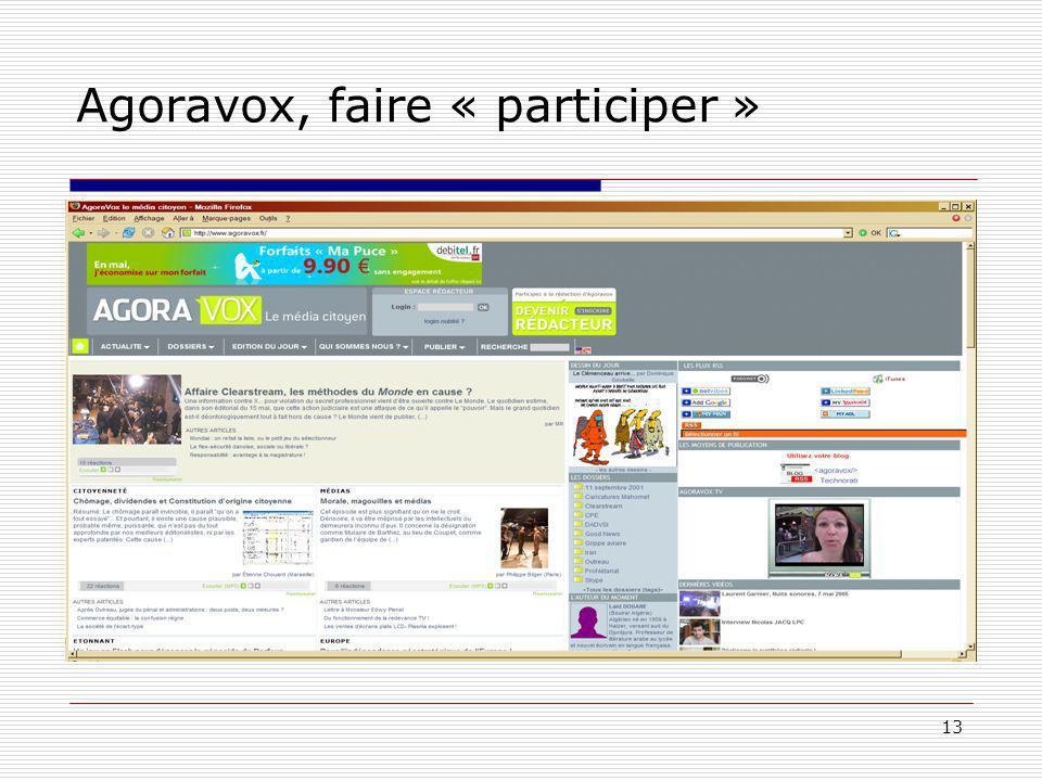 13 Agoravox, faire « participer »