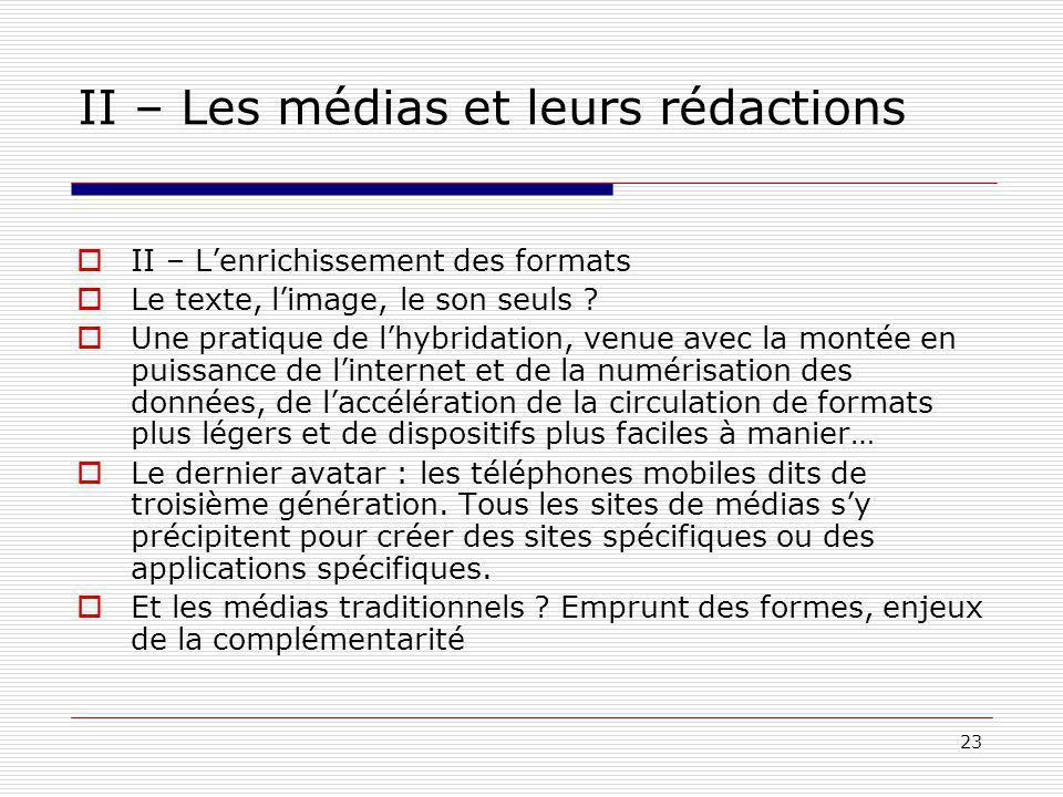 23 II – Les médias et leurs rédactions II – Lenrichissement des formats Le texte, limage, le son seuls .