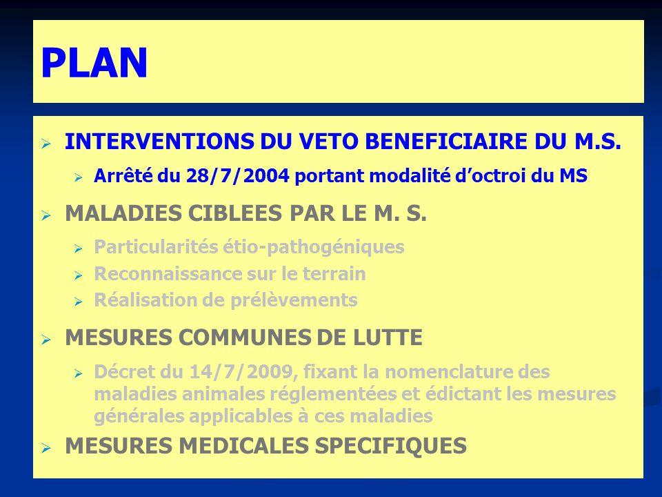 PLAN INTERVENTIONS DU VETO BENEFICIAIRE DU M.S. Arrêté du 28/7/2004 portant modalité doctroi du MS MALADIES CIBLEES PAR LE M. S. Particularités pathog