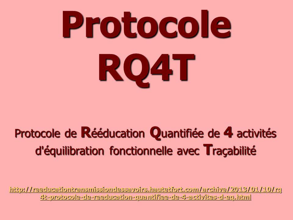 Protocole RQ4T Protocole de R ééducation Q uantifiée de 4 activités d'équilibration fonctionnelle avec T raçabilité http://reeducationtransmissiondess