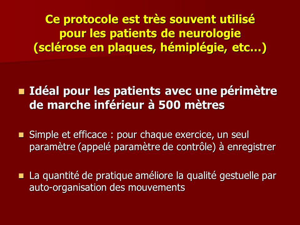 Ce protocole est très souvent utilisé pour les patients de neurologie (sclérose en plaques, hémiplégie, etc…) Idéal pour les patients avec une périmèt