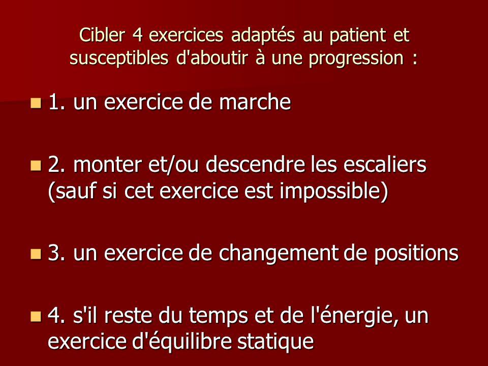 Cibler 4 exercices adaptés au patient et susceptibles d'aboutir à une progression : 1. un exercice de marche 1. un exercice de marche 2. monter et/ou