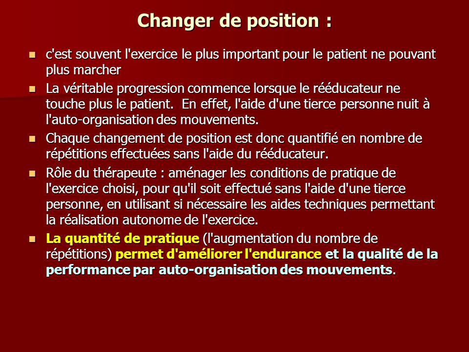 Changer de position : c'est souvent l'exercice le plus important pour le patient ne pouvant plus marcher c'est souvent l'exercice le plus important po