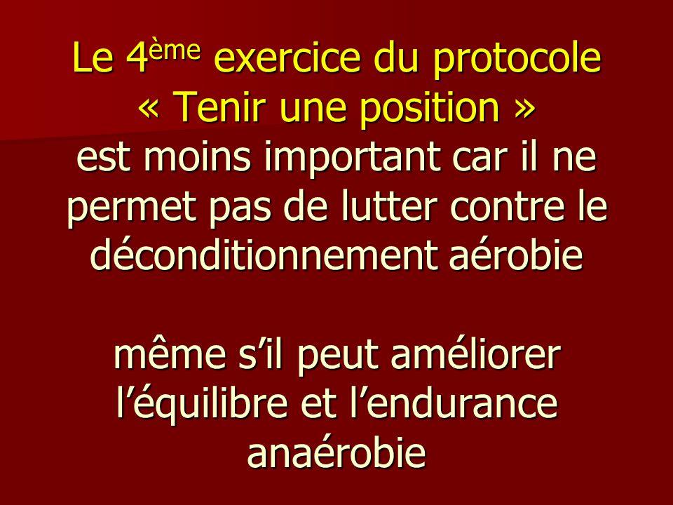 Le 4 ème exercice du protocole « Tenir une position » est moins important car il ne permet pas de lutter contre le déconditionnement aérobie même sil
