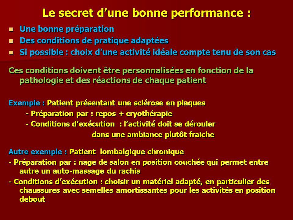 Le secret dune bonne performance : Une bonne préparation Une bonne préparation Des conditions de pratique adaptées Des conditions de pratique adaptées