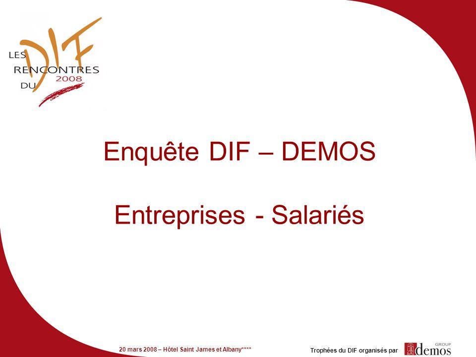 20 mars 2008 – Hôtel Saint James et Albany**** Trophées du DIF organisés par Enquête DIF – DEMOS Entreprises - Salariés