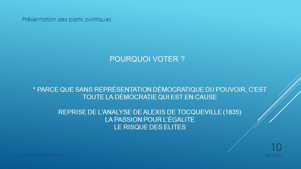 POURQUOI VOTER .