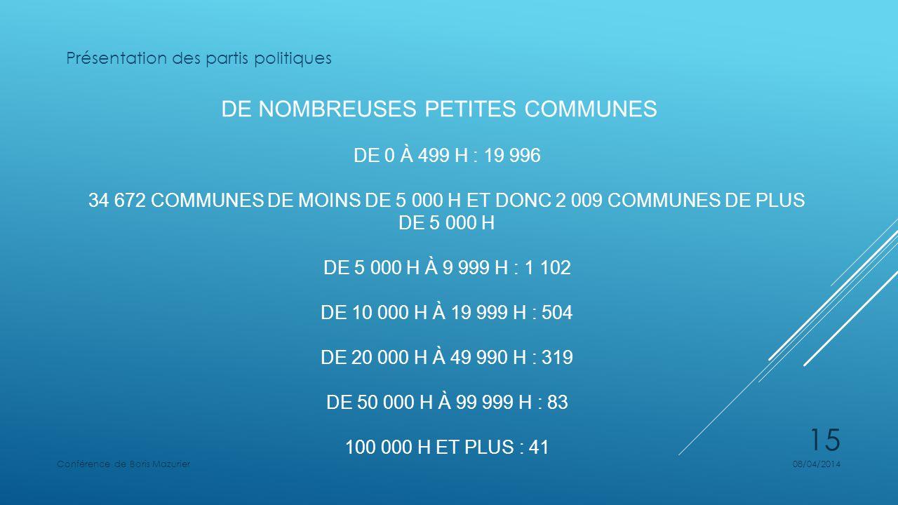 DE NOMBREUSES PETITES COMMUNES DE 0 À 499 H : 19 996 34 672 COMMUNES DE MOINS DE 5 000 H ET DONC 2 009 COMMUNES DE PLUS DE 5 000 H DE 5 000 H À 9 999