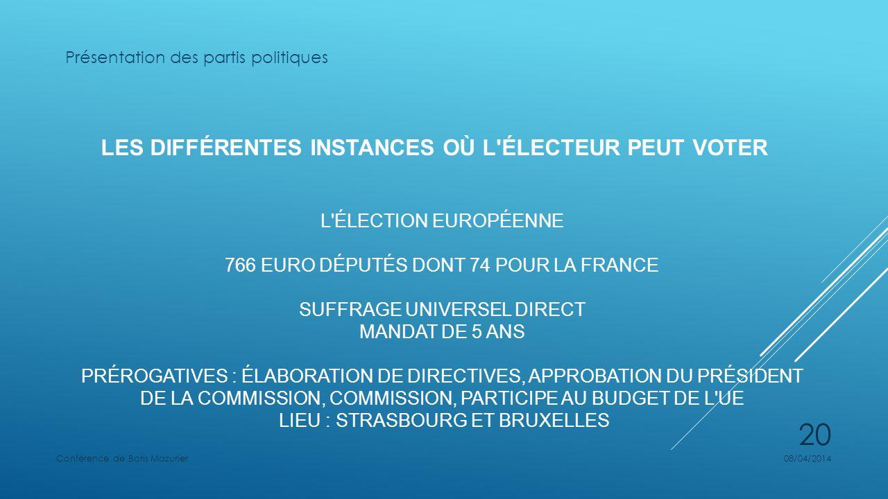 LES DIFFÉRENTES INSTANCES OÙ L ÉLECTEUR PEUT VOTER L ÉLECTION EUROPÉENNE 766 EURO DÉPUTÉS DONT 74 POUR LA FRANCE SUFFRAGE UNIVERSEL DIRECT MANDAT DE 5 ANS PRÉROGATIVES : ÉLABORATION DE DIRECTIVES, APPROBATION DU PRÉSIDENT DE LA COMMISSION, COMMISSION, PARTICIPE AU BUDGET DE L UE LIEU : STRASBOURG ET BRUXELLES Présentation des partis politiques 08/04/2014Conférence de Boris Mazurier 20