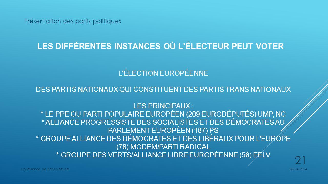 LES DIFFÉRENTES INSTANCES OÙ L ÉLECTEUR PEUT VOTER L ÉLECTION EUROPÉENNE DES PARTIS NATIONAUX QUI CONSTITUENT DES PARTIS TRANS NATIONAUX LES PRINCIPAUX : * LE PPE OU PARTI POPULAIRE EUROPÉEN (209 EURODÉPUTÉS) UMP, NC * ALLIANCE PROGRESSISTE DES SOCIALISTES ET DES DÉMOCRATES AU PARLEMENT EUROPÉEN (187) PS * GROUPE ALLIANCE DES DÉMOCRATES ET DES LIBÉRAUX POUR L EUROPE (78) MODEM/PARTI RADICAL * GROUPE DES VERTS/ALLIANCE LIBRE EUROPÉENNE (56) EELV Présentation des partis politiques 08/04/2014Conférence de Boris Mazurier 21