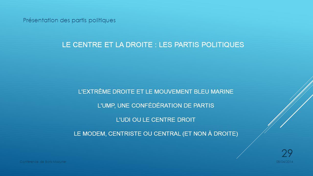 LE CENTRE ET LA DROITE : LES PARTIS POLITIQUES L EXTRÊME DROITE ET LE MOUVEMENT BLEU MARINE L UMP, UNE CONFÉDÉRATION DE PARTIS L UDI OU LE CENTRE DROIT LE MODEM, CENTRISTE OU CENTRAL (ET NON À DROITE) Présentation des partis politiques 08/04/2014Conférence de Boris Mazurier 29