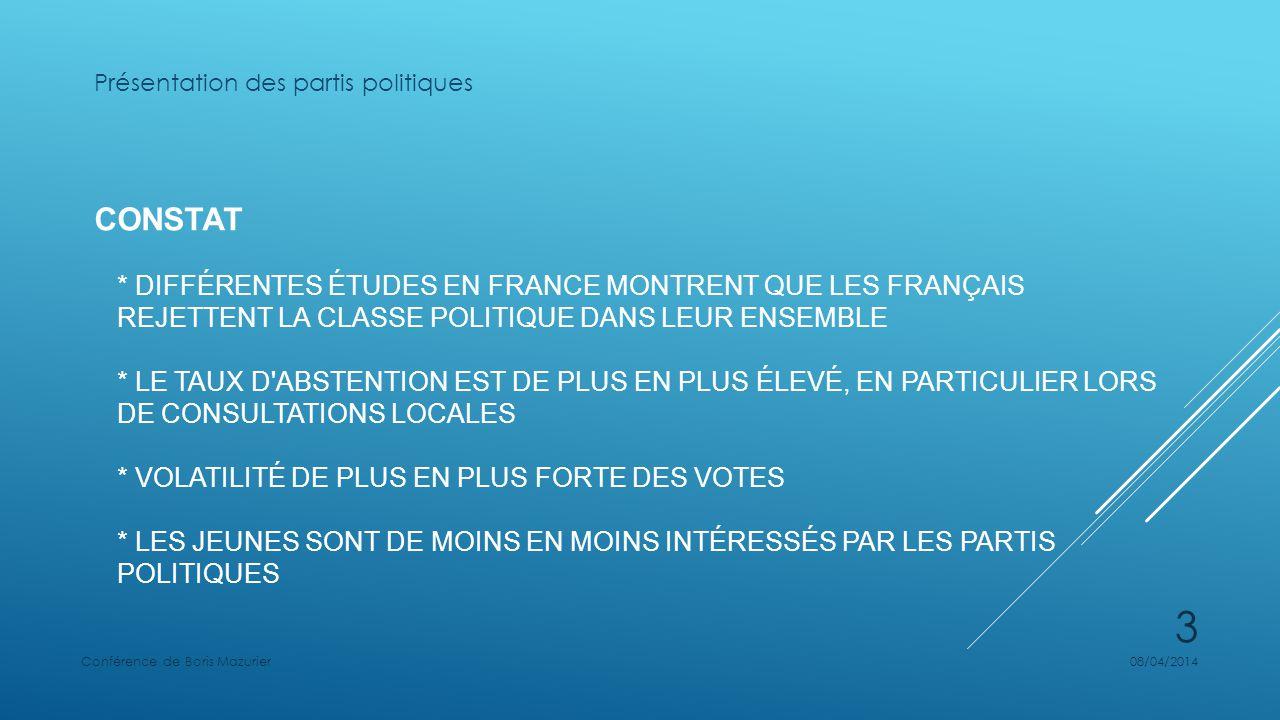CONSTAT * DIFFÉRENTES ÉTUDES EN FRANCE MONTRENT QUE LES FRANÇAIS REJETTENT LA CLASSE POLITIQUE DANS LEUR ENSEMBLE * LE TAUX D'ABSTENTION EST DE PLUS E