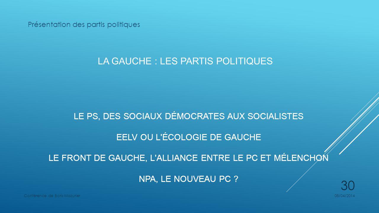 LA GAUCHE : LES PARTIS POLITIQUES LE PS, DES SOCIAUX DÉMOCRATES AUX SOCIALISTES EELV OU L ÉCOLOGIE DE GAUCHE LE FRONT DE GAUCHE, L ALLIANCE ENTRE LE PC ET MÉLENCHON NPA, LE NOUVEAU PC .
