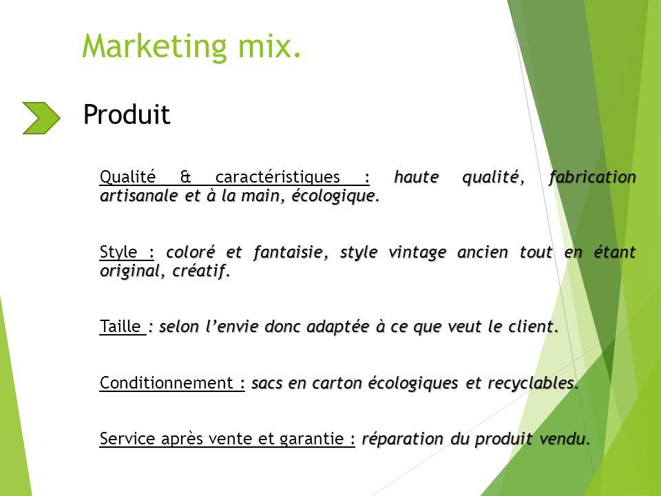 Marketing mix. Produit haute qualité, fabrication artisanale et à la main, écologique. Qualité & caractéristiques : haute qualité, fabrication artisan