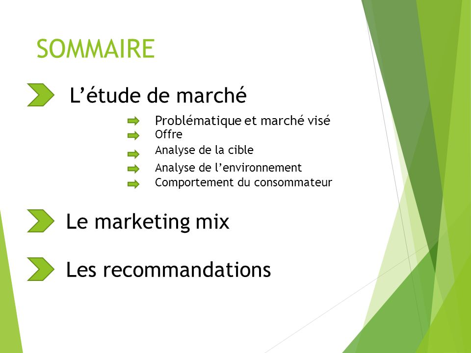 Létude de marché Problématique et marché visé Offre Analyse de la cible Analyse de lenvironnement Comportement du consommateur Le marketing mix Les re